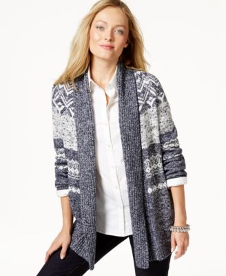 Charter Club Fair Isle Shawl Cardigan, Only at Macy's - Sweaters ...