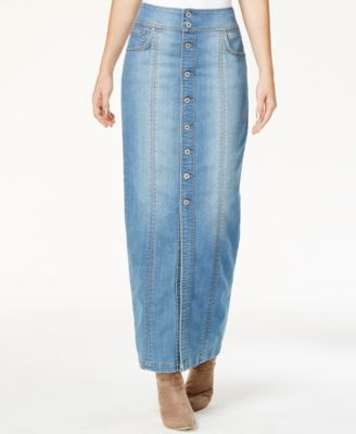 INC International Concepts Button-Front Denim Maxi Skirt, Only at ...