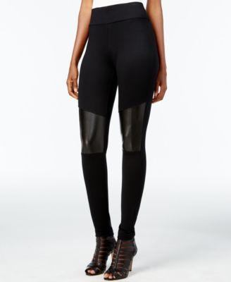 Material Girl Juniors' Metallic Colorblocked Faux-Leather Leggings ...