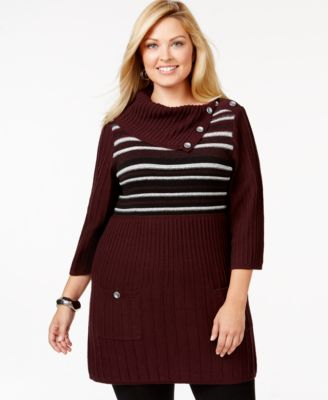 Style & Co. Plus Size Striped Tunic Sweater, Only at Macy's ...