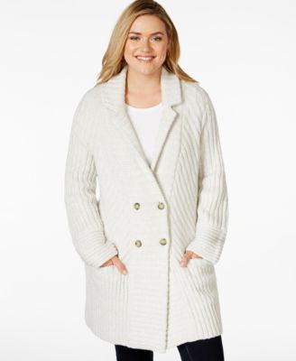MICHAEL Michael Kors Plus Size Draped Patch-Pocket Sweater Coat ...