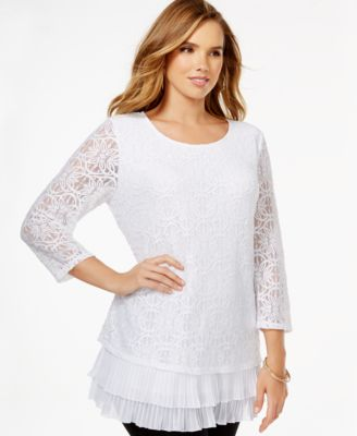 Alfani Plus Size Tiered Flounce-Hem Lace Top, Only at Macy's ...