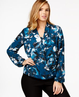 Alfani Plus Size Beaded Crossover Top, Only at Macy's - Tops ...