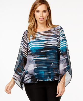 alfani plus size angel-sleeve print top, only at macy's - tops