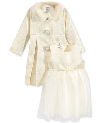 Blueberi Boulevard Little Girls&39 2-Pc. Coat &amp Dress Set With Faux