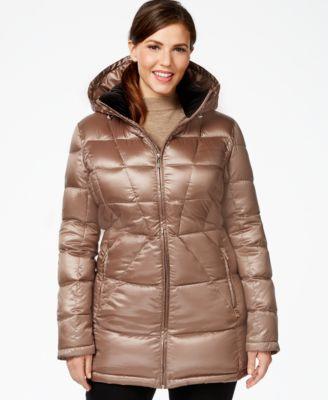 Calvin Klein Plus Size Packable Down Puffer Coat - Coats - Women ...