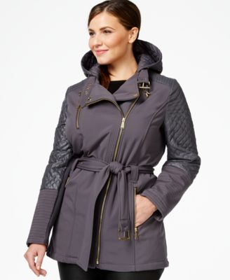 Michael Michael Kors Plus Size Quilted Trim Asymmetrical Trench Coat