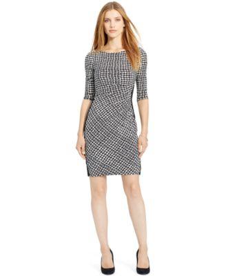 Lauren Ralph Pee Houndstooth Paneled Sheath Dress