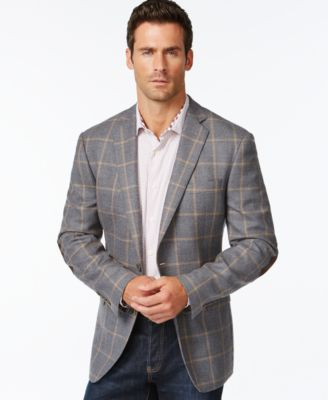 Tallia Big & Tall Grey & Pink Windowpane Slim-Fit Sport Coat ...