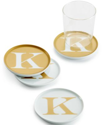 """The Cellar Gold Initial Coasters Collection Porcelain Set of 4 Initial """"K"""" Coasters, Only at Macy's"""