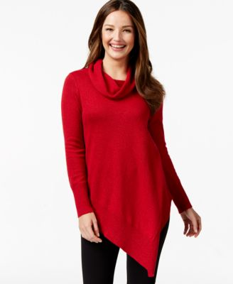 Alfani Asymmetrical-Hem Cowl-Neck Sweater, Only at Macy's ...