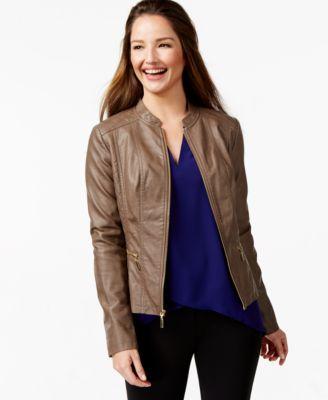 Alfani Petite Faux-Leather Bomber Jacket, Only at Macy's - Jackets ...