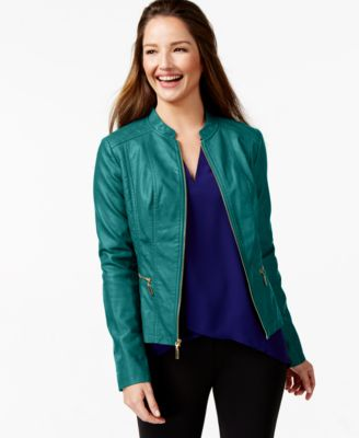 Alfani Faux-Leather Bomber Jacket, Only at Macy's - Jackets ...
