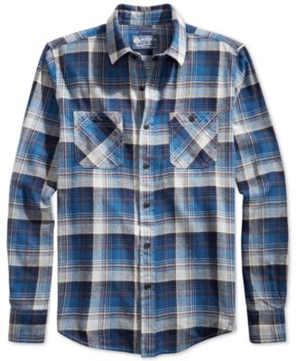 American Rag Blizzard Plaid Flannel Shirt - Casual Button-Down ...