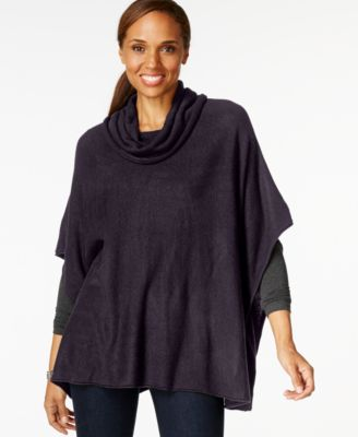Karen Scott Petite Cowl-Neck Poncho Sweater - Sweaters - Women ...