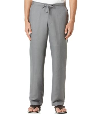 Cubavera Solid Linen-Blend Drawstring Pants 30