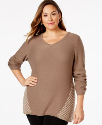 Style & Co. Plus Size Plaited Pointelle-Back Sweater, Only at ...