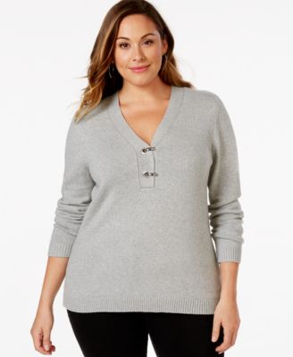 Charter Club Plus Size V-Neck Hardware Sweater, Only at Macy's ...