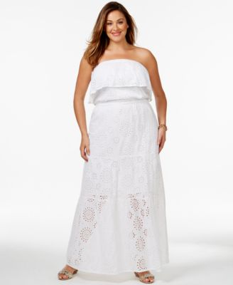 MICHAEL Michael Kors Plus Size Tiered Eyelet Maxi Dress - Dresses ...