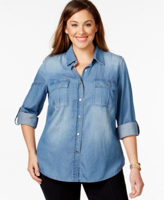 MICHAEL Michael Kors Plus Size Denim Utility Shirt - Tops - Plus ...