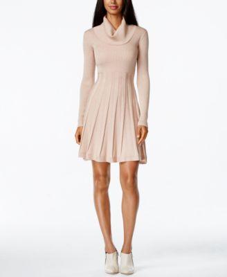Calvin Klein Cowl-Neck Fit & Flare Sweater Dress - Dresses - Women ...
