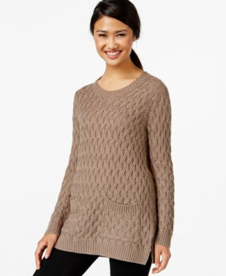 Jeanne Pierre Cable-Knit Pocketed Tunic Sweater - Sweaters - Women ...