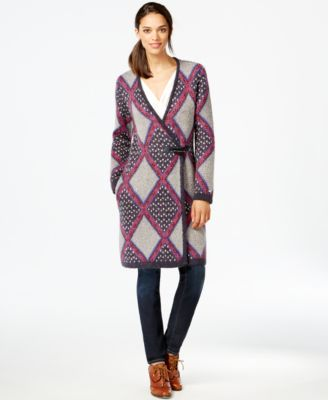 Tommy Hilfiger Printed Toggle-Front Sweater Coat - Sweaters ...