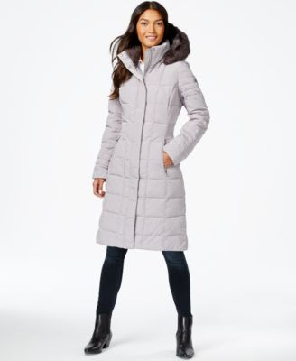 DKNY Faux-Fur-Trim Hooded Down Puffer Coat - Coats - Women - Macy's
