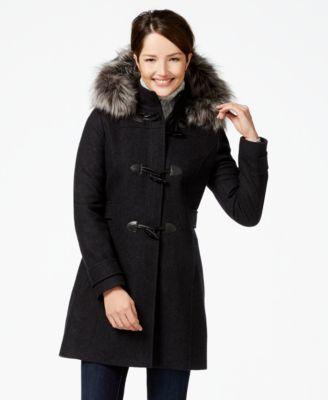 Nautica Faux-Fur-Trim Duffle Coat - Coats - Women - Macy's