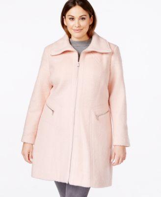 Jessica Simpson Plus Size Zip-Front Wool Coat - Coats - Women - Macy's