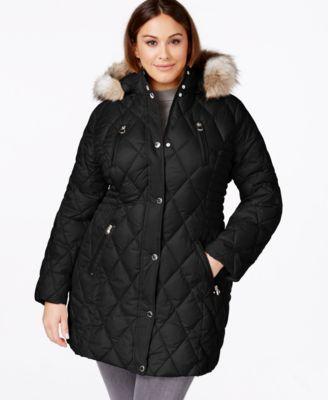 Laundry By Design Plus Size Faux Fur Trim Quilted Coat Coats