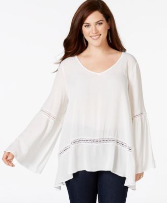 ING Plus Size Bell-Sleeve Textured Peasant Top - Tops - Plus Sizes ...