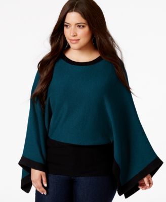 Alfani Plus Size Kimono-Sleeve Knit Top, Only at Macy's - Tops ...