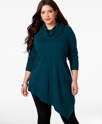 alfani plus size cowlneck asymmetric-hem sweater-knit top, only at