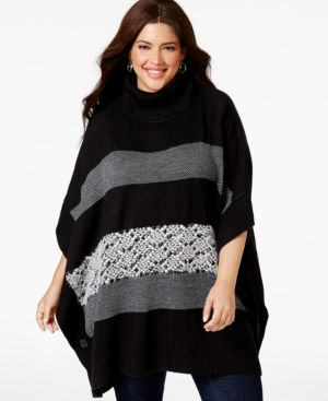 Ny Collection Plus Size Striped Turtleneck Poncho