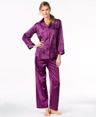 Miss Elaine Petite Brush Back Satin Top and Pajama Pants Set Bras