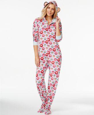 Hello Kitty Ugly Christmas Holiday Hooded Footed Pajamas - Bras ...