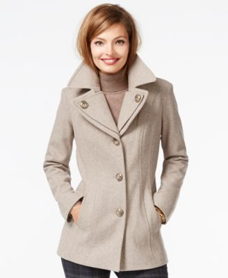 London Fog Petite Layered-Collar Peacoat - Coats - Women - Macy's
