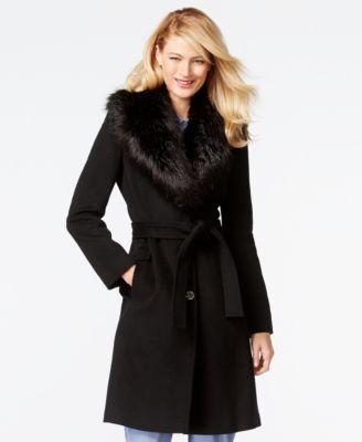 Calvin Klein Leopard-Print Faux-Fur Coat - Coats - Women - Macy&39s