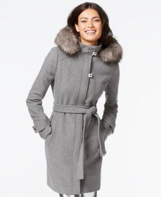 Calvin Klein Faux-Fur-Trim Belted Walker Coat - Coats - Women - Macy's