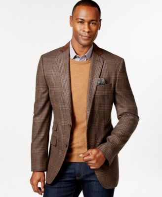 Tallia Vetrino Tartan Brown Slim - Fit Sport Coat - Blazers
