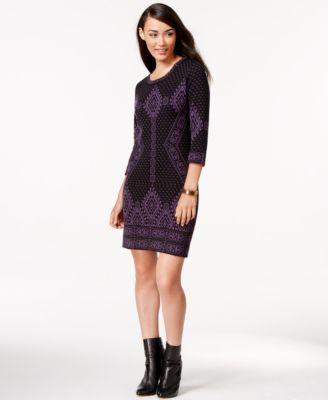 NY Collection Fair-Isle Sweater Sheath Dress - Dresses - Women ...