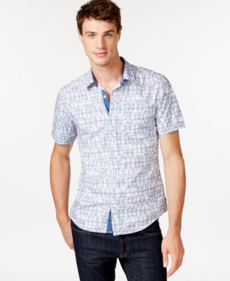 GUESS Ikat Short-Sleeve Button-Down Shirt - Casual Button-Down ...