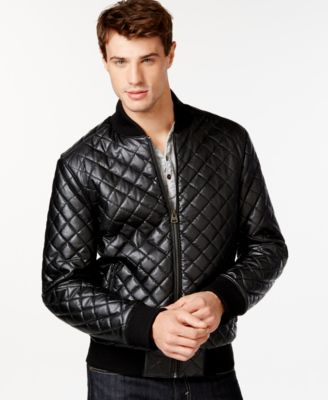 GUESS Colin Quilted Faux-Leather Jacket - Coats & Jackets - Men ...