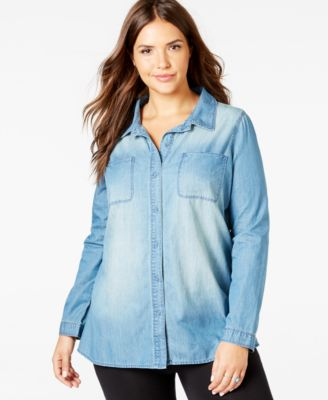 american rag plus size faded chambray shirt, only at macy's - tops