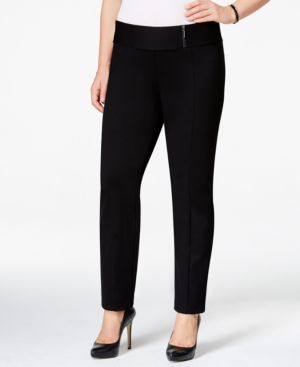Alfani Plus Size Straight-Leg Pull-On Pants, Only at Macy's
