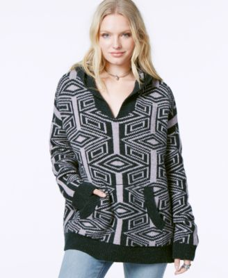 Free People Printed Hooded Pullover Sweater - Sweaters - Women ...
