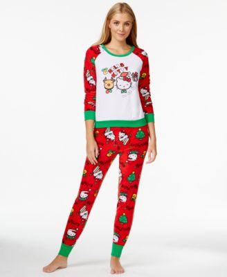 hello kitty ugly christmas holiday hooded footed pajamas bras - Christmas Pajamas Women