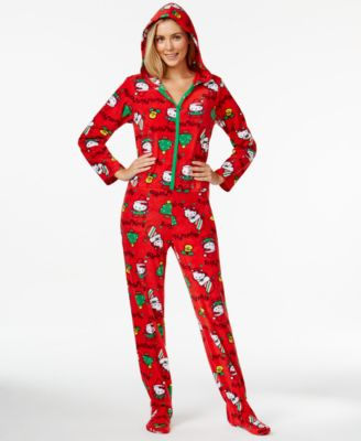 Hello Kitty Ugly Christmas Holiday Hooded Footed Pajamas - Bras ...