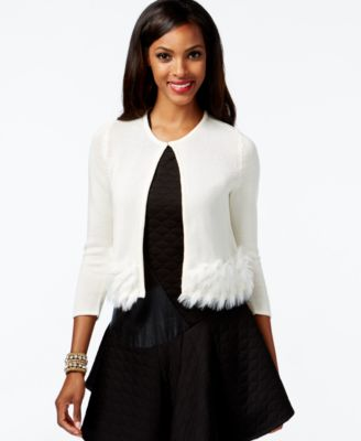 Alfani Faux-Fur Cropped Cardigan Sweater, Only at Macy's ...